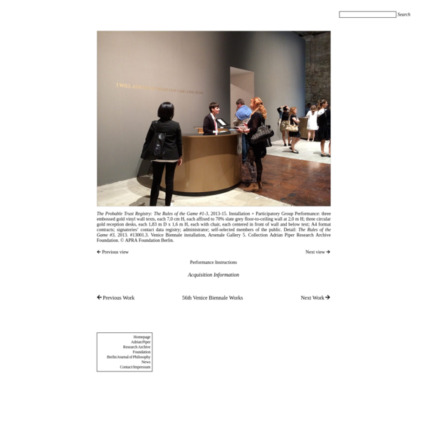 APRAF Berlin: Artwork: 56th Venice Biennale Works: The Probable Trust Registry: The Rules of the Game #3