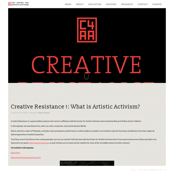 Creative Resistance 1: What is Artistic Activism?
