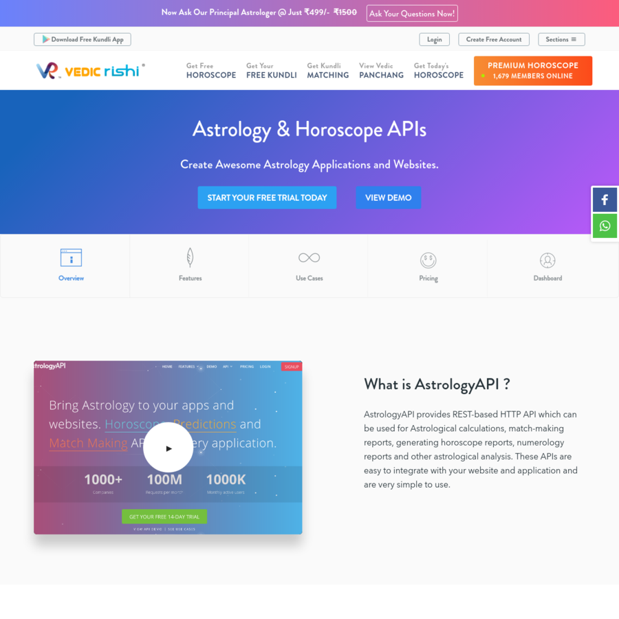 This page provides astrology and horoscope API for developers to create innovative astrological websites or applications. The Astro APIs are pay as you go and simple to integrate with websites.