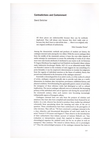 Contradictions and Containment, David Deitcher