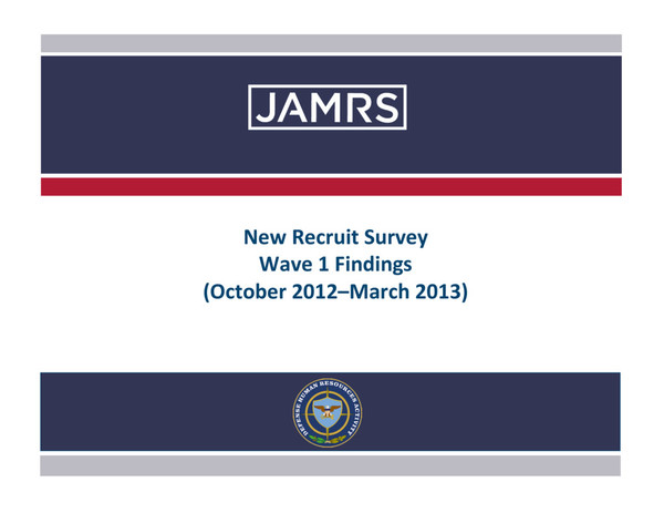 2013 New Recruit Wave JAMRS