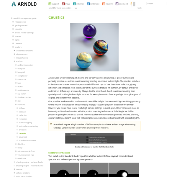 Caustics - Arnold for Maya User Guide 4 - Arnold Renderer