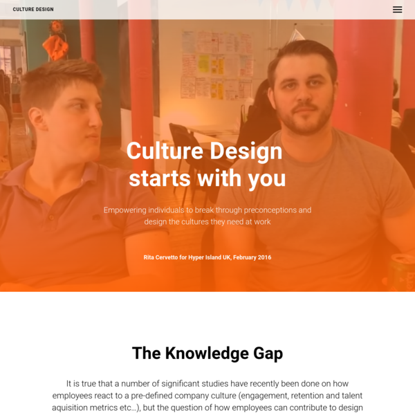 Culture Design starts with you
