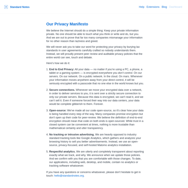 Our Privacy Manifesto   Standard Notes