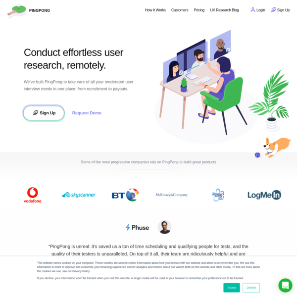 PingPong UX Research Platform: Recruit, Schedule, Moderate, Transcribe