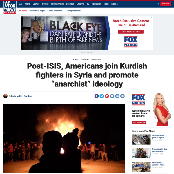"""Post-ISIS, Americans join Kurdish fighters in Syria and promote """"anarchist"""" ideology"""