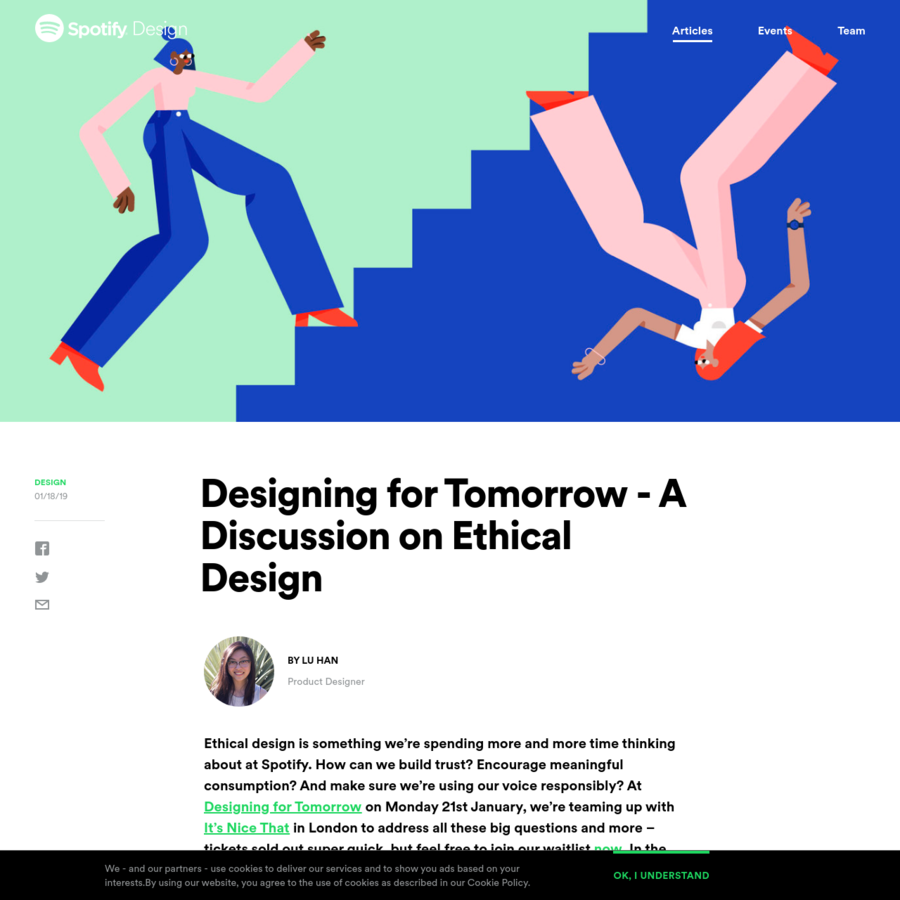 Ethical design is something we're spending more and more time thinking about at Spotify. How can we build trust? Encourage meaningful consumption? And make sure we're using our voice responsibly?