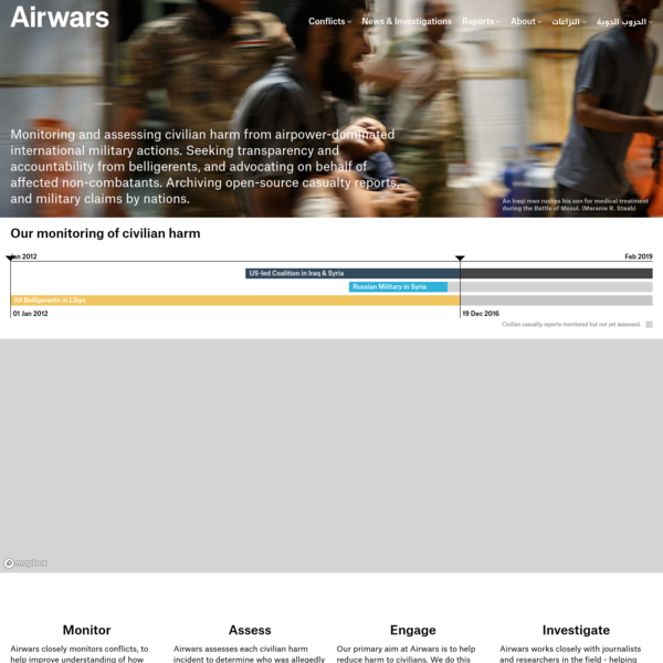 Monitoring and assessing civilian harm from airpower-dominated international military actions. Seeking transparency and accountability from belligerents, and advocating on behalf of affected non-combatants. Archiving open-source casualty reports, and military claims by nations.