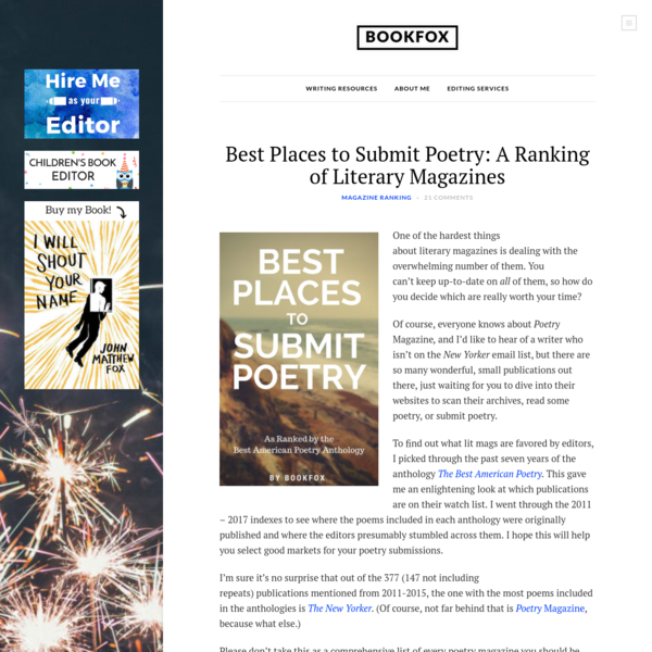 Best Places to Submit Poetry: A Ranking of Literary Magazines - Bookfox