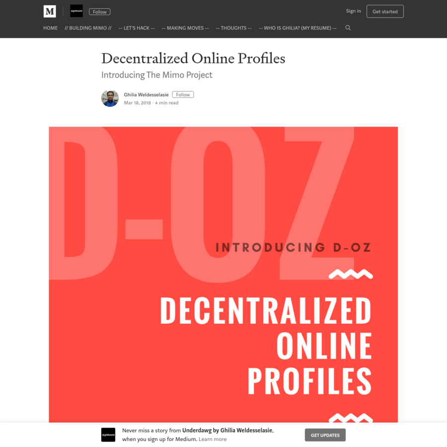 Mimo is a tokenized Profile specification standard that enables the creation and use of decentralized pseudo-identities. The standard aims to build a common informational interface by which social networks, games and other Dapps can host user experiences on their services without hosting or owning user information.