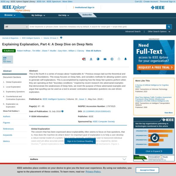 Explaining Explanation, Part 4: A Deep Dive on Deep Nets - IEEE Journals & Magazine
