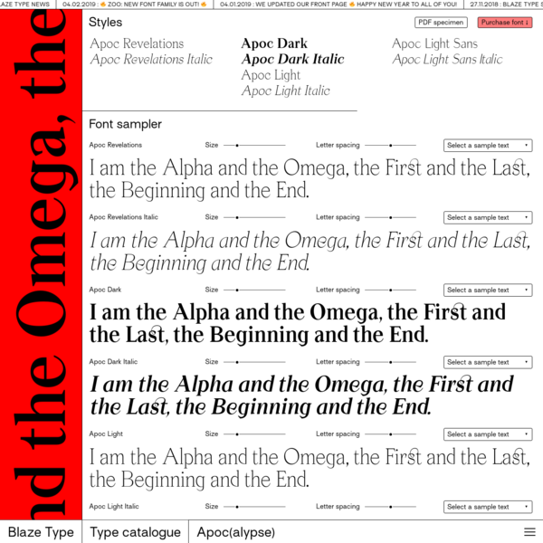 """Apoc, the battle between Light and Dark. """"As I stood upon the sand of the sea..."""" Apoc is a typeface family revolving around 8 fonts: Apoc Revelations & Italic Apoc Light & Italic Apoc Dark & Dark Italic The design process started with the finding of a lettrage made for a book cover about the book of Revelations."""