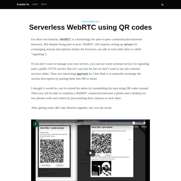 Serverless WebRTC using QR codes