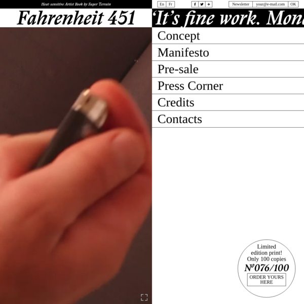 Fahrenheit 451 - Heat-sensitive Artist Book