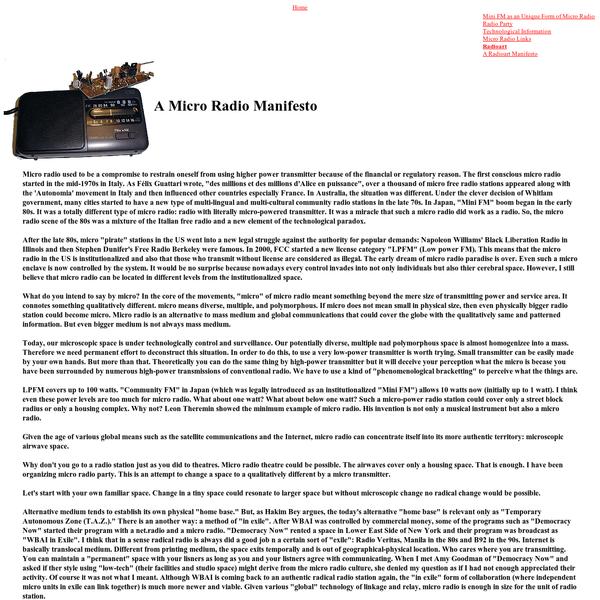 Tetsuo Kogawa's Polymorphous Space on micro radio, radio transmission and radio art.