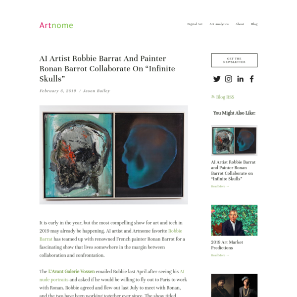 "AI Artist Robbie Barrat and Painter Ronan Barrot Collaborate on ""Infinite Skulls"""