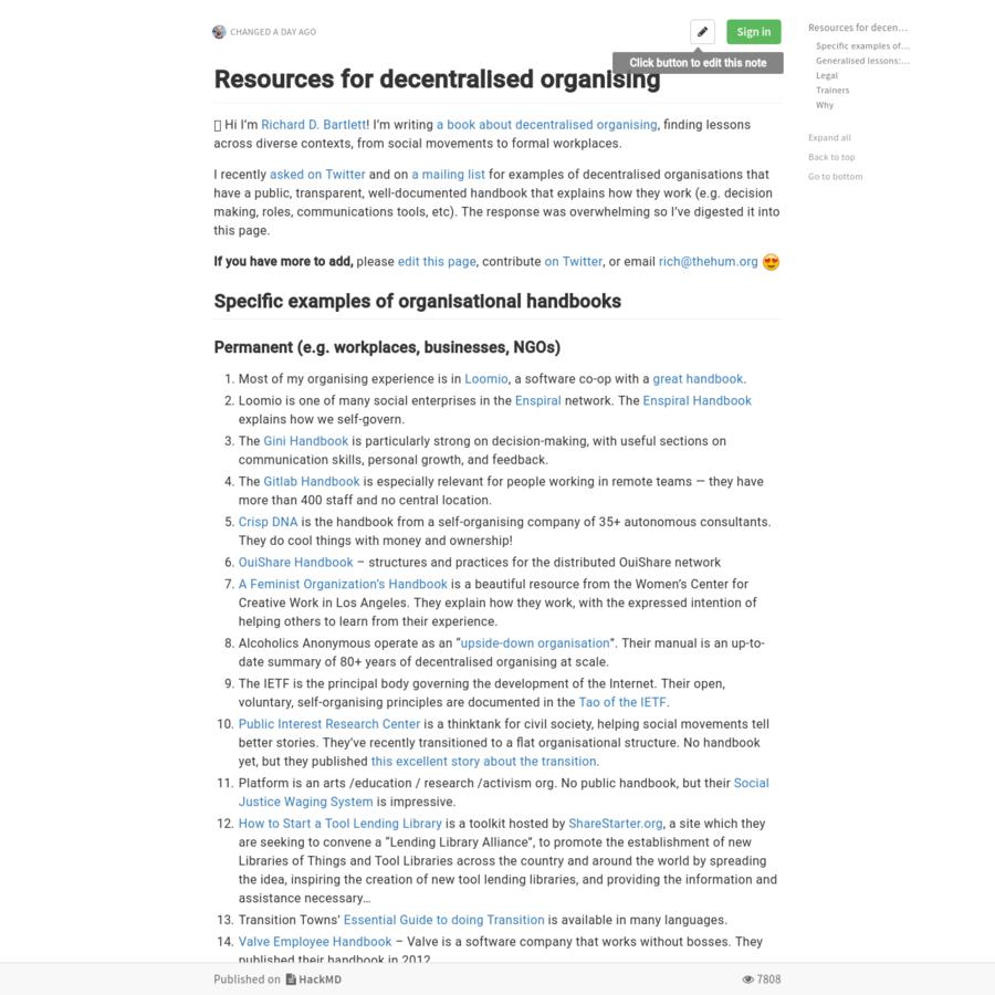 Resources for decentralised organising 🐒 Hi I'm [Richard D. Bartlett](http://richdecibels.com)!