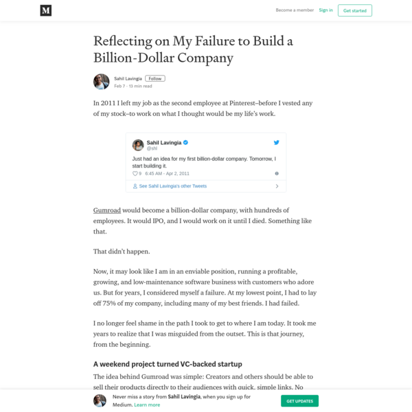 Reflecting on My Failure to Build a Billion-Dollar Company