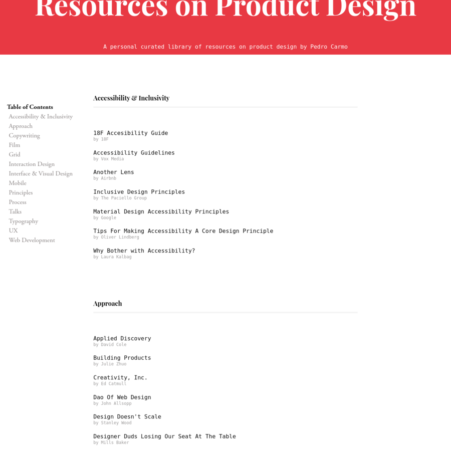 A personal curated library of resources on product design by Pedro Carmo