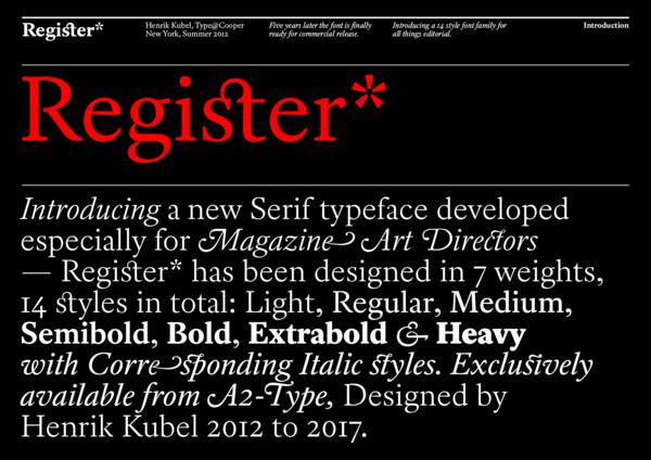 Register (designed by Henrik Kubel, 2012–17, for A2)