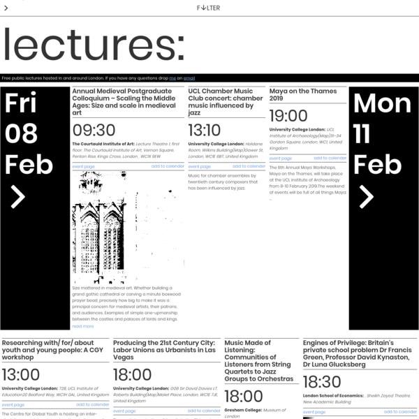 Public Lectures   Lectures London