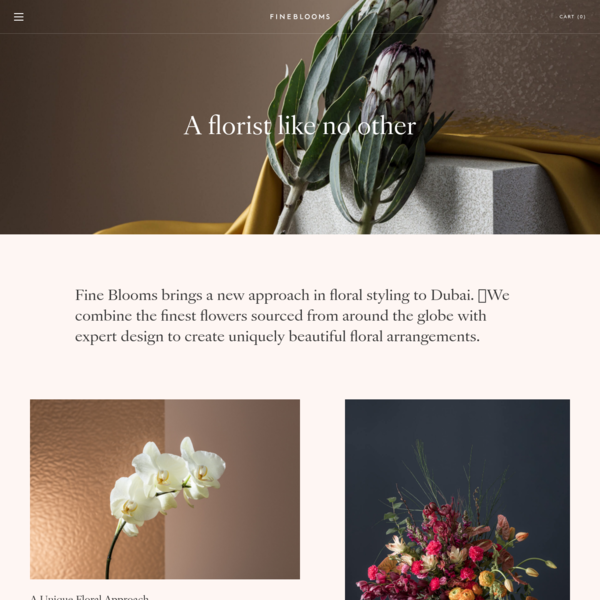 Fine Blooms brings a new approach in floral styling to Dubai. �We combine the finest flowers sourced from around the globe with expert design to create uniquely beautiful floral arrangements.
