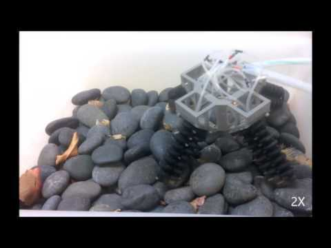 3D Printed Soft Actuators for a Legged Robot Capable of Navigating Unstructured Terrain