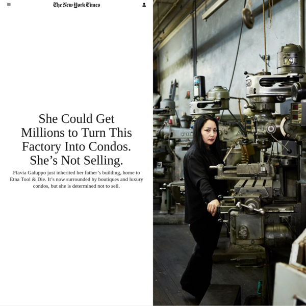 Flavia Galuppo just inherited her father's building, home to Etna Tool & Die. It's now surrounded by boutiques and luxury condos, but she is determined not to sell. Flavia Galuppo at her father's former business on Bond Street, Etna Tool & Die.
