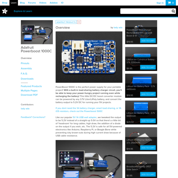 Overview | Adafruit Powerboost 1000C | Adafruit Learning System