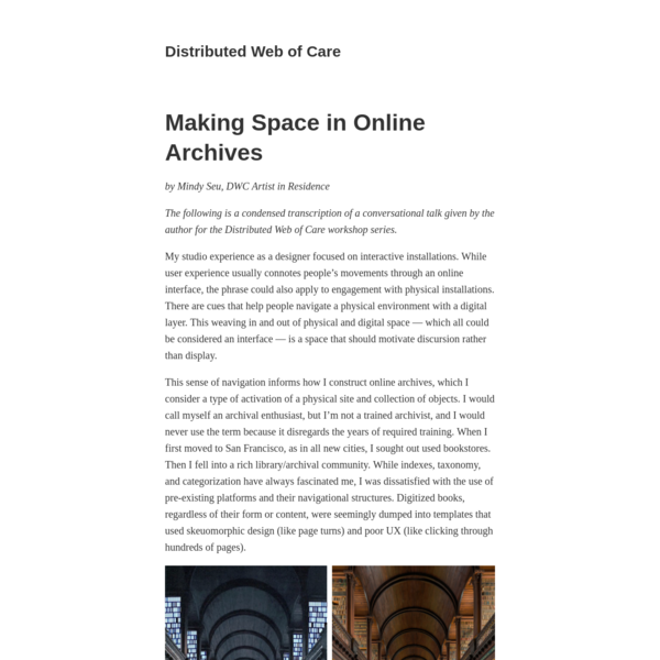 Making Space in Online Archives