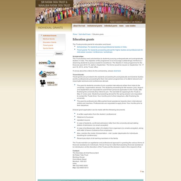SRTT & NRTT | Individual grants | Education grants