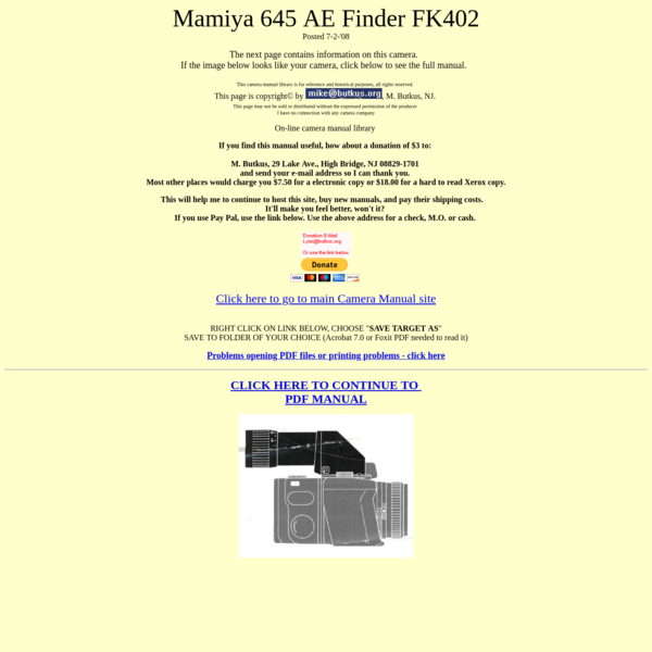 Mamiya 645 AE finder instruction manual, user manual, PDF manual, free manuals