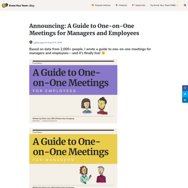 Announcing: A Guide to One-on-One Meetings for Managers and Employees