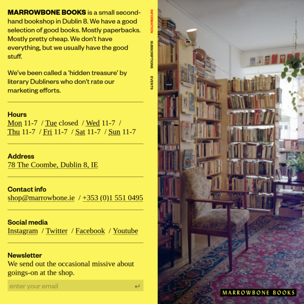 Second-hand fiction and nonfiction · Dublin · Marrowbone Books
