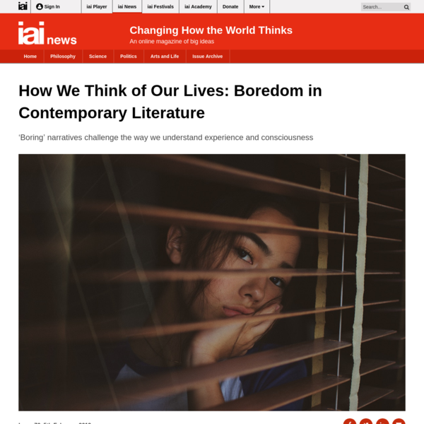 How We Think of Our Lives: Boredom in Contemporary Literature