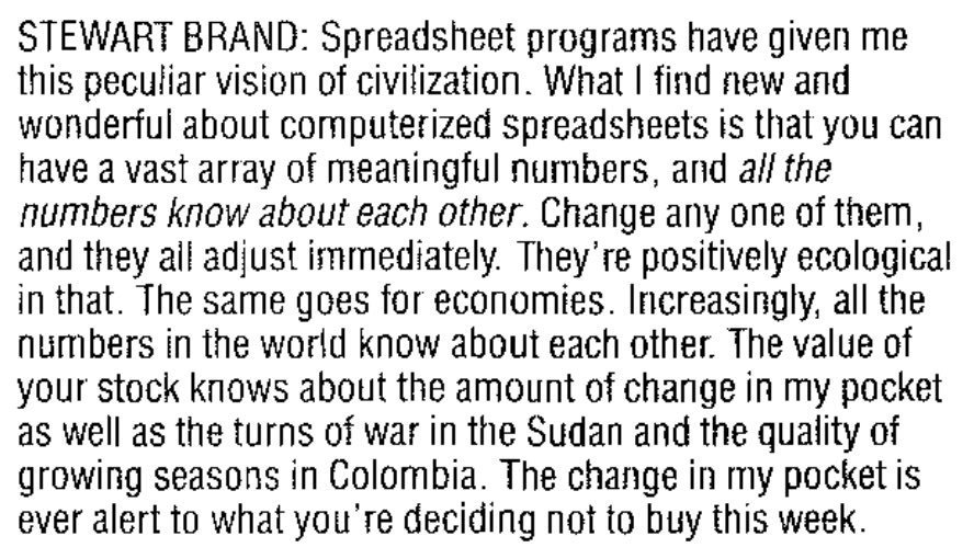 Stewart Brand on spreadsheets