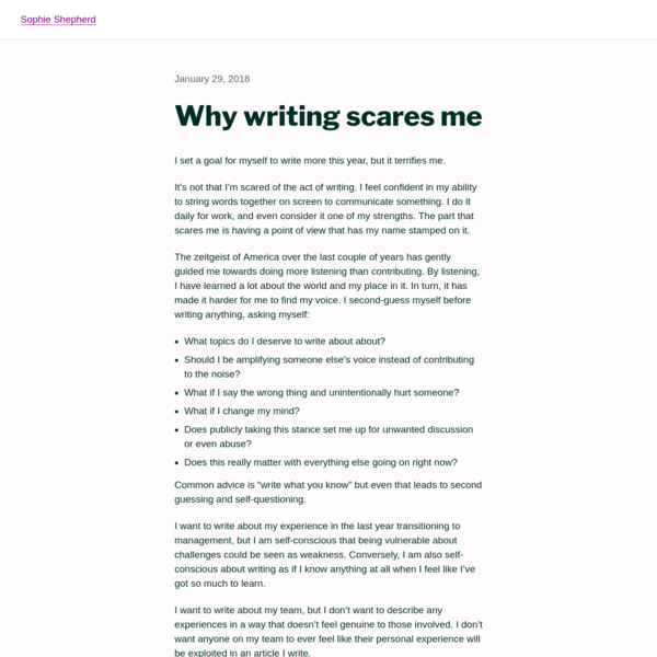 Why writing scares me