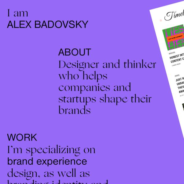 Alex Badovsky - design and art direction