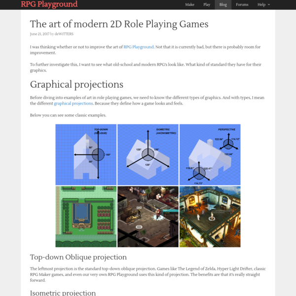 The art of modern 2D Role Playing Games