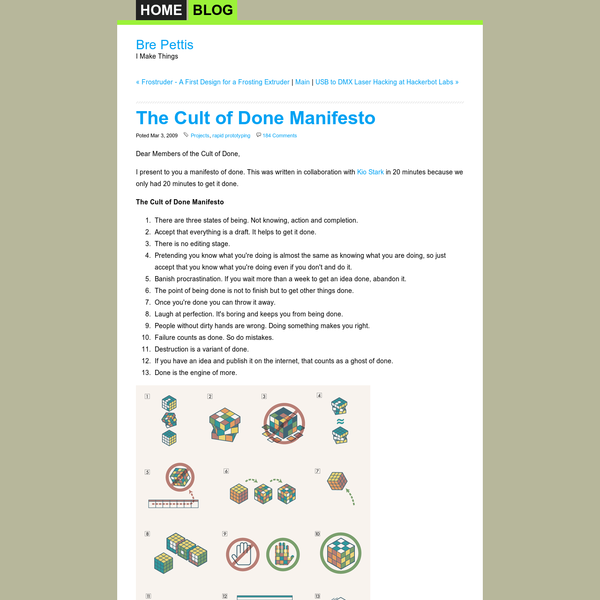 Bre Pettis | I Make Things - Bre Pettis Blog - The Cult of Done Manifesto