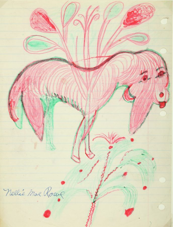 Nellie Mae Rowe, Untitled (Pink Creature)