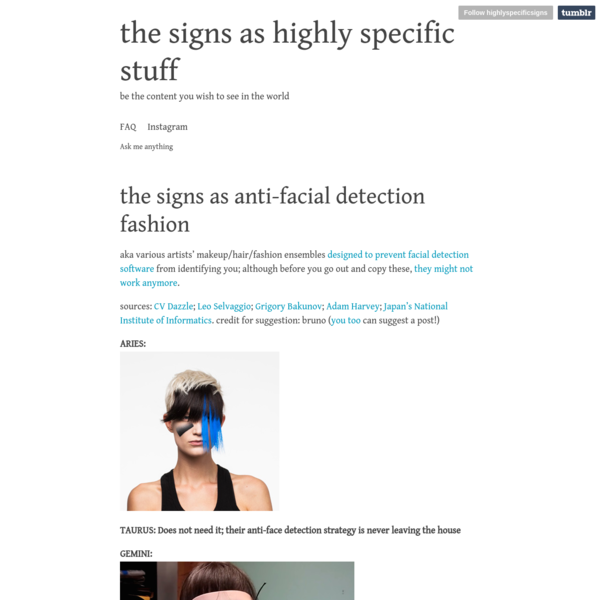 the signs as anti-facial detection fashion