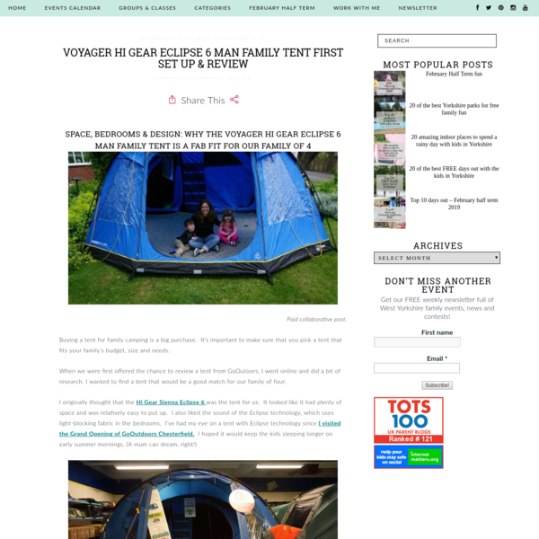 Voyager Hi Gear Eclipse 6 man family tent first set up & review - Yorkshire Tots