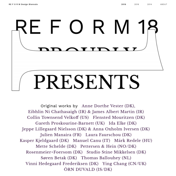 RE F O R M Design Biennale