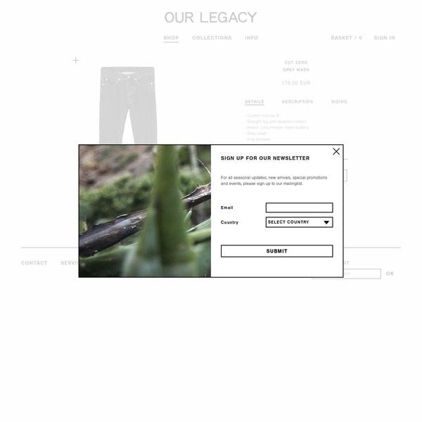 Our Legacy - Cut Zero