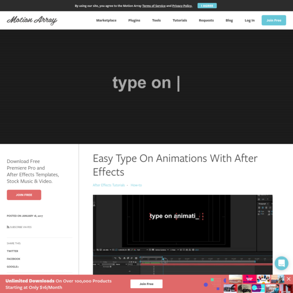 Easy Type On Animations With After Effects | Motion Array