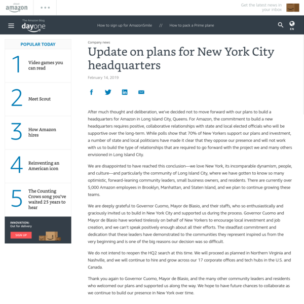 Update on plans for New York City headquarters