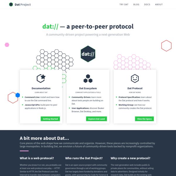 Dat Project - A Community-Driven Web Protocol