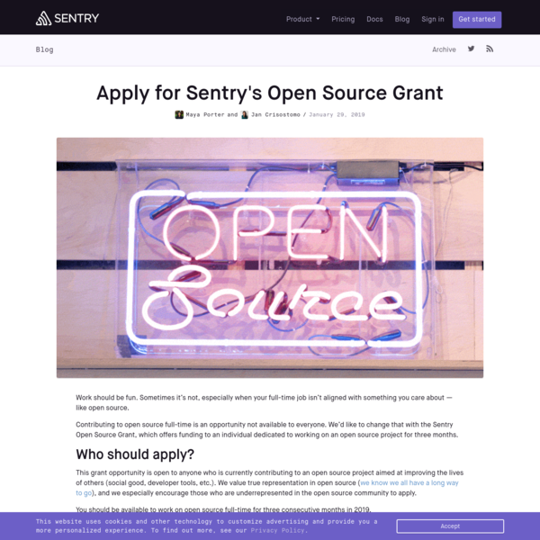 Apply for Sentry's Open Source Grant