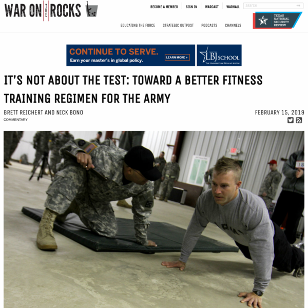 It's Not About the Test: Toward a Better Fitness Training Regimen for the Army
